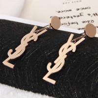 YSL New Fashion Long Section Earring Accessories Women Rose gold
