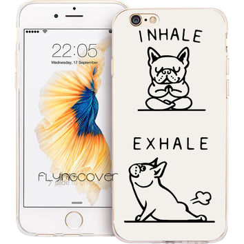 Coque French Bulldog Inhale and Exhale Letter Print For Iphone Case