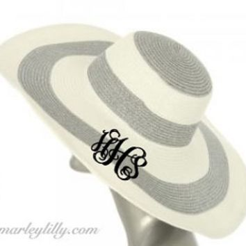 Monogrammed Wide Silver Stripe Floppy Hat