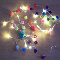 Pom pom lights / Lights / Multi coloured / Rainbow / Fairy lights / String of lights / LED lights / Boho / India Inspired / Colourful / Gift