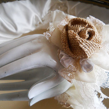 Burlap Bridal Wrist Corsage handmade rustic burlap roses, vintage style shabby chic sheer and lace with white satin roses.