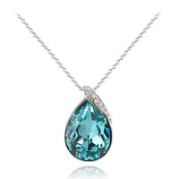 Sterling Silver CZ  & Light Blue Teardrop Necklace Made with Swarovski Elements