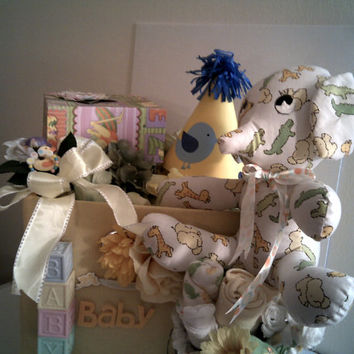 A -Z BABY BASKET Baby Shower Gift Set Keepsake Box All In One Infant Boy Or Girl Newborn Floral Organizer Washcloths Plush Stuffed Elephant