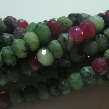 AA Beautiful Natural Ruby Zoisite Faceted Rondelle 4-4.5 mm, 1/2 strand
