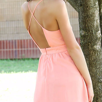 Ice Cream Peach Spaghetti Strap Sundress