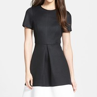 Women's Pink Tartan Colorblock Techno Mesh Fit & Flare Dress,