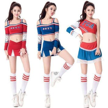CREY6F SSYT Sexy High School Cheerleader Costume Girl Baseball aerobics dance Cheer Girls Race Car Driver Uniform Party Tops and Skirt