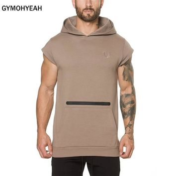 Bodybuilding Hoodies Fitness Clothes Cotton Casual Hoodie Sweatshirts Men's Fashion Brand Gyms short sleeves Sweatshirts hooded
