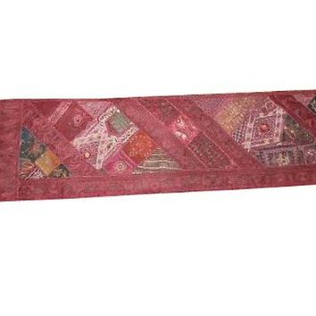 Table Runner Red Decorative Wall Hanging Beaded Art Unique Decor Tapestry 80 X 22 Inch | Mogul Interior