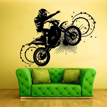 Wall Vinyl Decal Sticker Bedroom Decal Tribal Dirt Bike Moto Motorcycle  z323