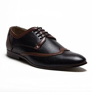 New Men's 36981 Leather Lined Perforated Two-Tone Oxford Shoes