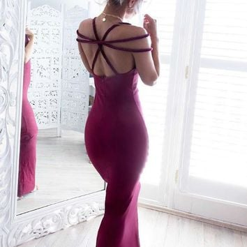 Fashion new sexy tie strapless Slim V neck knit wine red sleeveless dress skirt