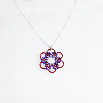 Chainmail Pendant Necklace Purple Pendant Purple Necklace Chainmail Necklace Chainmail Jewelry Gift For Her Chain Necklace Flower Fantasy