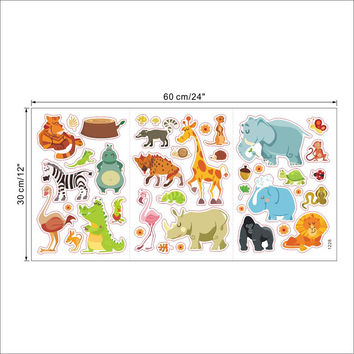 Jungle Animals Wall Stickers for Kids Rooms Safari Nursery Rooms Baby Home Decor Poster Monkey Elephant Horse Wall Decals SM6