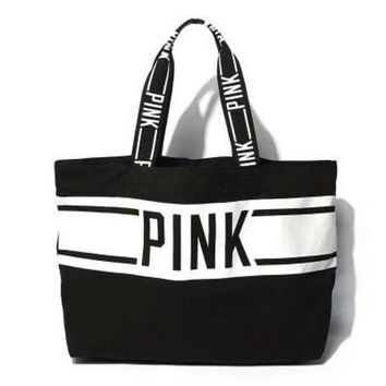 ONETOW 2016 ' Pink Printed ' Victoria's Secret Like Canvas Stylish Handy Large Tote Purse Handbag Shoulder Bag _ 9338