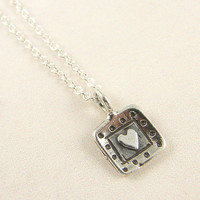 Tiny Heart Necklace - Sterling Silver Heart Charm 18 Inch Sterling Silver Chain Pendant Jewelry