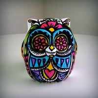 Ceramic Owl Painted Day of the Dead Tattoo Hearts by sewZinski