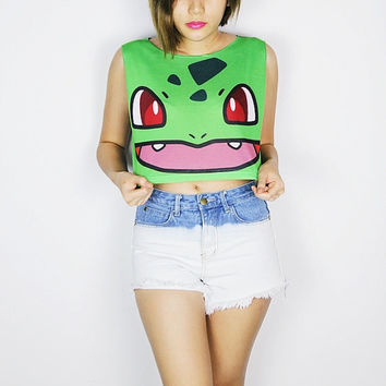 Pokemon Bulbasaur crop top tank shirt women S M L