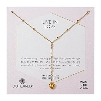 Dogeared Live In Life, Puffy Heart Y-Necklace