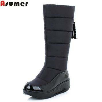 ASUMER 2017 new winter warm snow boots fashion platform fur cotton shoes wedges heels knee high boots women pu leather boots