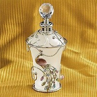 StealStreet Jewel Peacock White Floral Perfume Bottle Fragrance Container