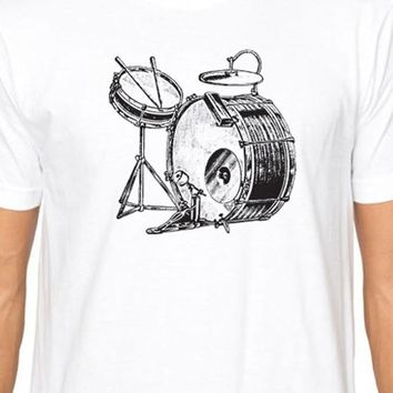 Husband Gift Vintage Drums MENS T-shirt Womens T Shirt Fathers Day Gift Graphic Tee Band Tshirt Wife Gift