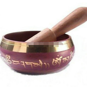 Tibetan Copper Crafted Gold Gilt Chakra Singing Bowl ~ Meditation ~