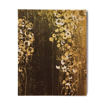 "Ebi Emporium ""THE DARK GARDEN 1"" Gold Black Abstract Floral Painting Mixed Media Birchwood Wall Art"