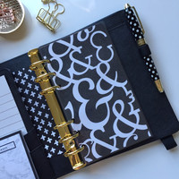 Black with White Ampersand Dashboard in Pocket, Personal or A5