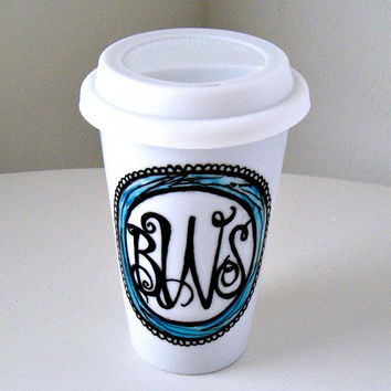 Ceramic Travel Mugs Initials Monogram Hand Painted Customize Personalize Black White Blue Eco Friendly Porcelain Tumbler Take Away Mug