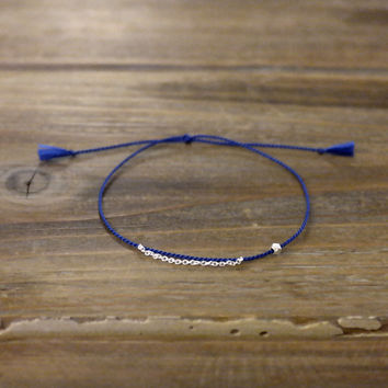 Minimal Modern Friendship Skinny Thin 100% Silk Thread Cord 925 Genuine Sterling Silver Chain Tube Facet Beads Bracelet Tassel Blue Gift (Anthropologie)