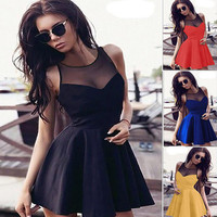 Summer Sleeveless Lace Patchwork Sexy Women's Fashion One Piece Dress [6343426817]