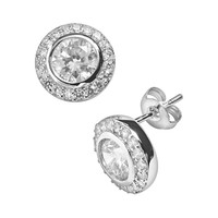 Silver Plated Cubic Zirconia Round Frame Stud Earrings (Brass/Silver)