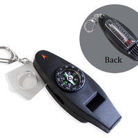 5 In 1 Camping Whistle With LED, Compasss, Thermometer & Magnifier :  ( Pack of  8 Pcs )