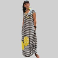 Blue women dress with stripes and lemons/ organic cotton women dress/ summer long dress/ dress with stripes/ women loose dress