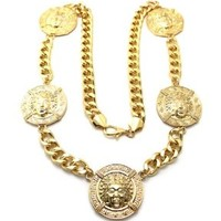 Gold Head Circle Pendant with a 10mm 36 Inch Cuban Chain