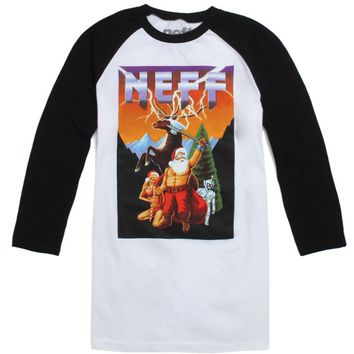 Neff Bad Santa Raglan T-Shirt - Mens Tee - White