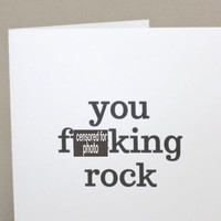"Funny Card, Card for Friend - "" You Rock"""