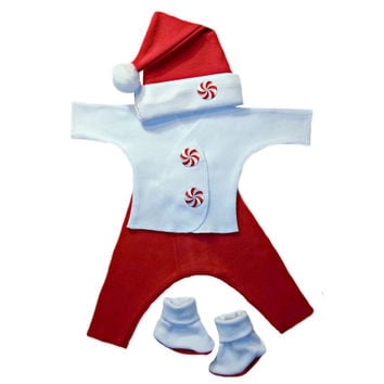 Unisex Baby Christmas Santa Peppermint Candy Set