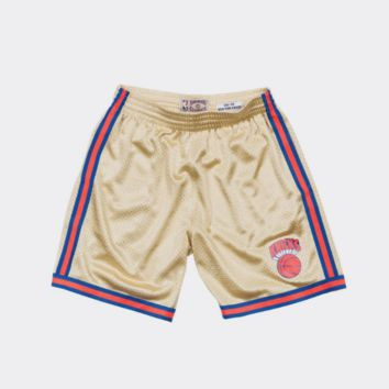 Mitchell & Ness Gold Swingman Shorts New York Knicks