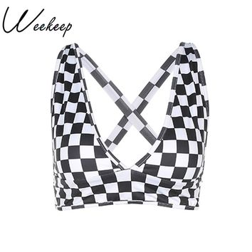 Weekeep Women Sexy Party&Club Cropped Tank Top Checkerboard Print 2018 Camis Women Hot sexy Women Summer High Crop Top