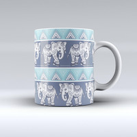 The Walking Sacred Elephant Pattern ink-Fuzed Ceramic Coffee Mug