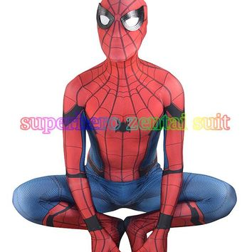 3D Print 2017 New Spider-man Homecoming Spandex Zentai Costume Civil War Spiderman Costumes Spidey Cosplay Custom Movies Suit