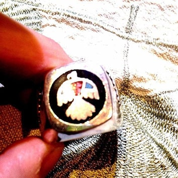 Vintage Large Silver Stone Inlay American Thunderbird 13 Size Men's Ring