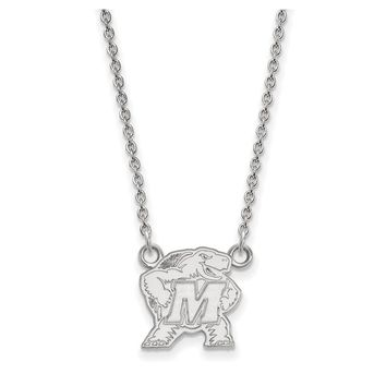 NCAA 10k White Gold Maryland Small Pendant Necklace