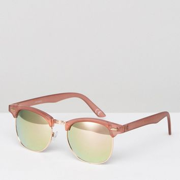ASOS Retro Sunglasses In Crystal Pink With Rose Gold Mirror Lens at asos.com
