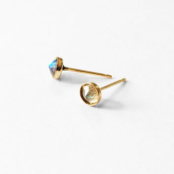 Labradorite Inverted Studs in 14k fill