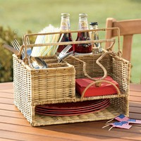 Hand-Woven Rattan Picnic Organizer with Metal Frames in Brown or Natural - Plow & Hearth