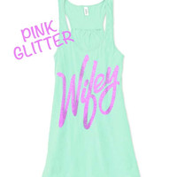 Wifey Mint Tank Top // Wifey Flowy Tank Top // Wifey Pink Glitter Tank // Wifey Tanktop // Bride tank top // Wedding tank top