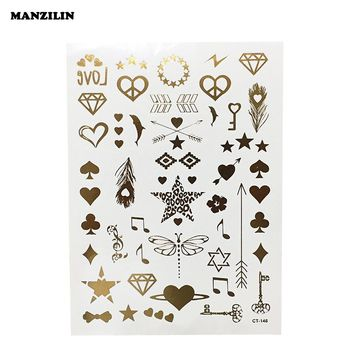 Women's Sexy Diamond Heart Dragonfly Tattoos Metalic Gold Silver Flash Temporary Waterproof Tattoo Stickers